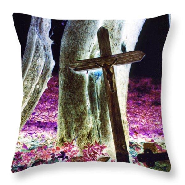 Surreal Crucifixion Throw Pillow by Karin Kohlmeier