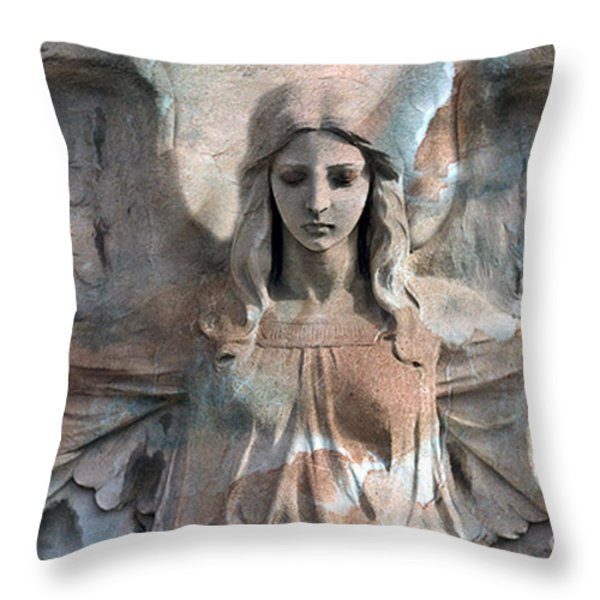 Surreal Fantasy Dreamy Angel Art Wings Throw Pillow by Kathy Fornal