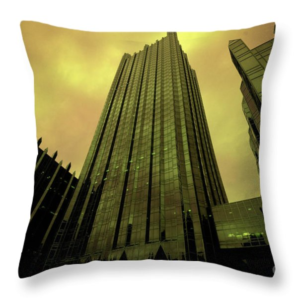 Surreal View Of Ppg Plaza Pittsburgh Throw Pillow by Amy Cicconi