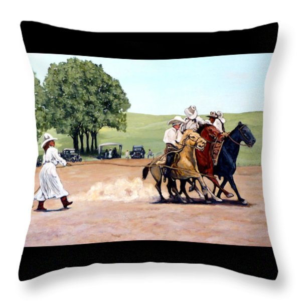 Suzzi Q. Whirling the Rope Throw Pillow by Tom Roderick