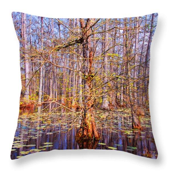 Swamp Tree Throw Pillow by Susanne Van Hulst