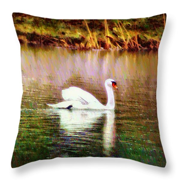 Swan Lake Throw Pillow by Bill Cannon