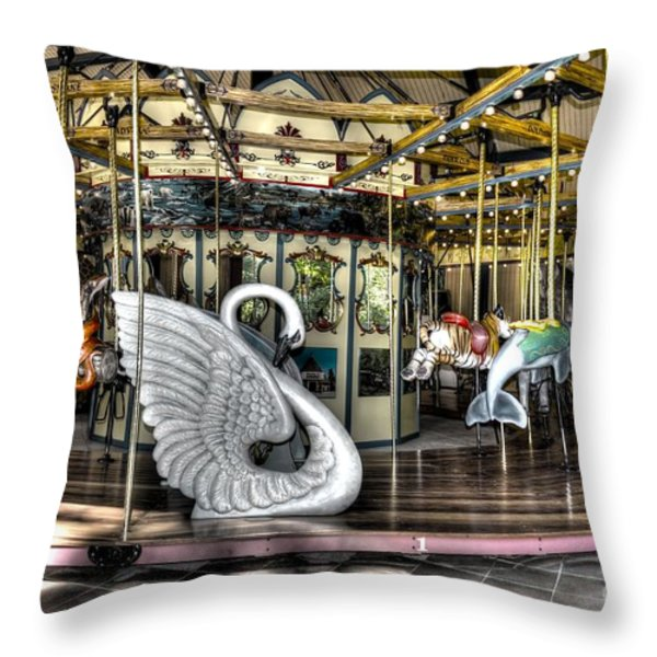 Swan Seat at the Carousel  Throw Pillow by Michael Garyet