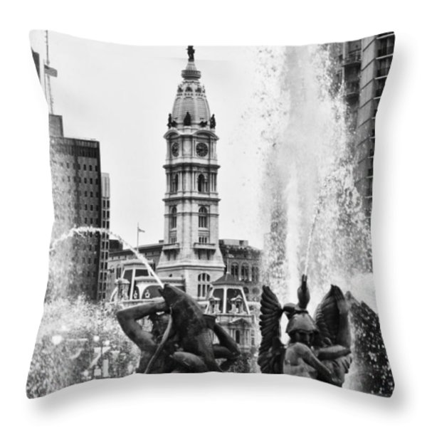 Swann Memorial Fountain in Black and White Throw Pillow by Bill Cannon