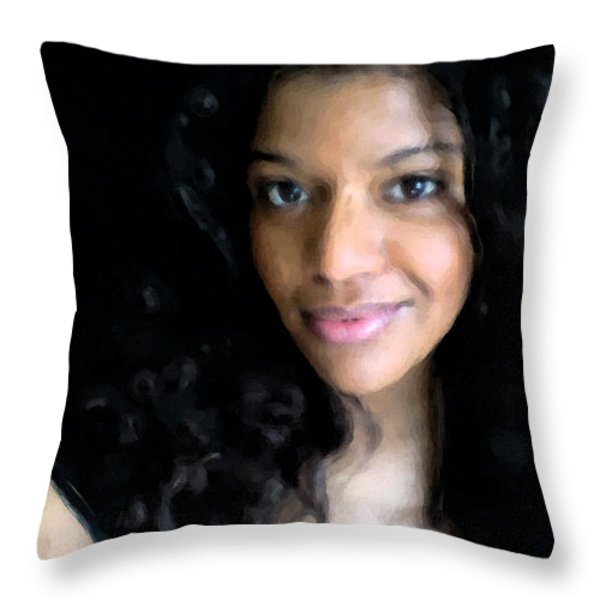 Sweet Lady Throw Pillow by Wayne Bonney