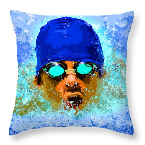 Swimmer Throw Pillow by Stephen Younts