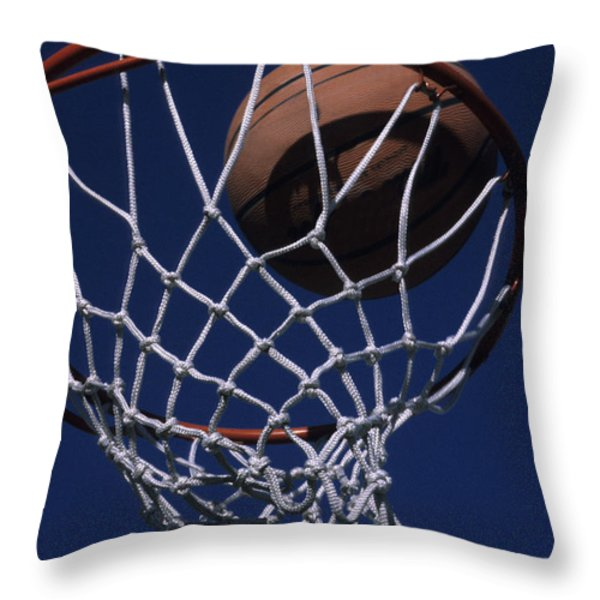 Swish.  A Basketball Throw Pillow by Stacy Gold