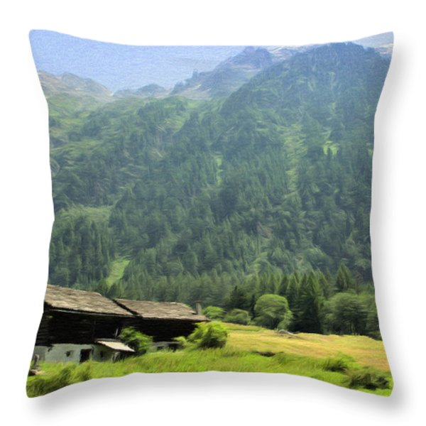 Swiss Mountain Home Throw Pillow by Jeff Kolker