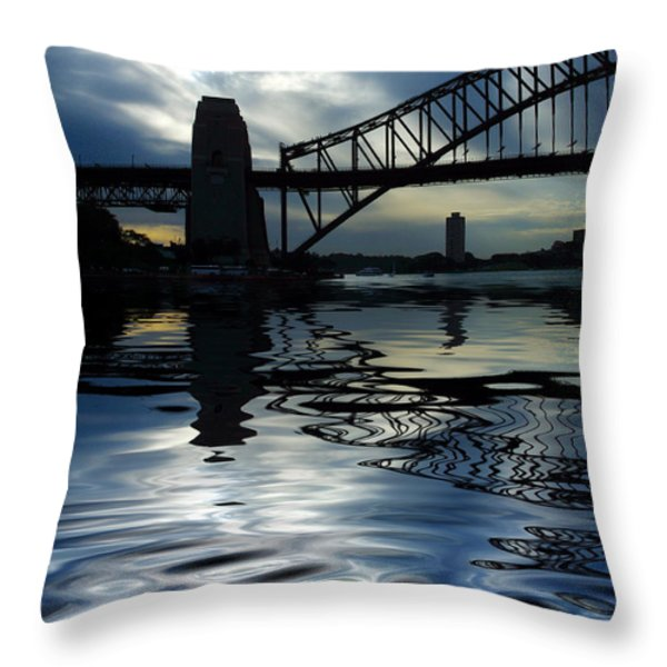 Sydney Harbour Bridge reflection Throw Pillow by Sheila Smart