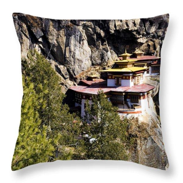 Taktsang Monastery  Throw Pillow by Fabrizio Troiani
