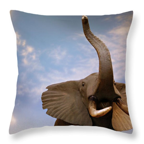 Talking Elephant Throw Pillow by Marilyn Hunt