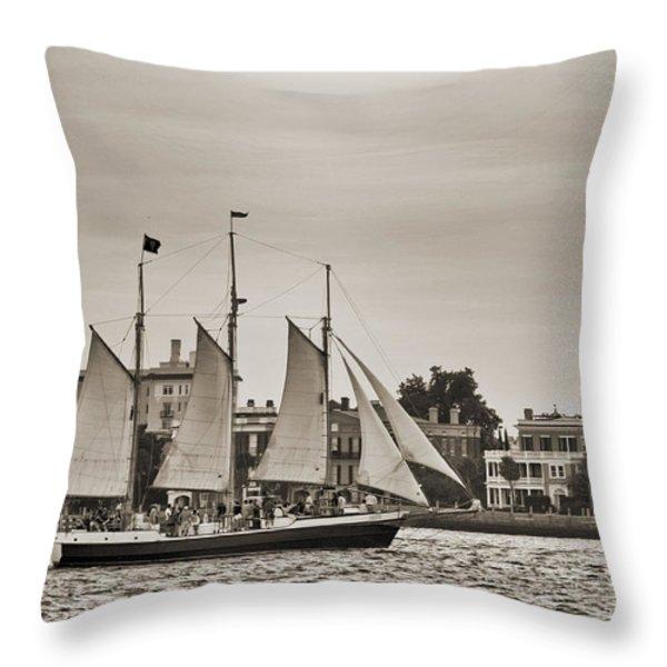 Tall Ship Schooner Pride off the Historic Charleston Battery Throw Pillow by Dustin K Ryan