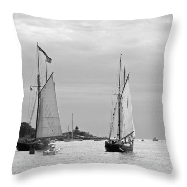 Tall Ships Sailing I in black and white Throw Pillow by Suzanne Gaff