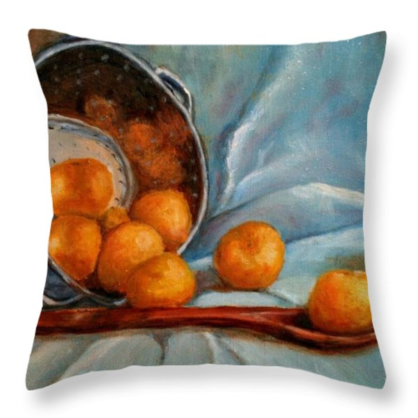 Tangerine Family Portrait Throw Pillow by Terrye Philley