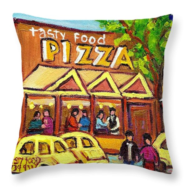 TASTY FOOD PIZZA ON DECARIE BLVD Throw Pillow by CAROLE SPANDAU