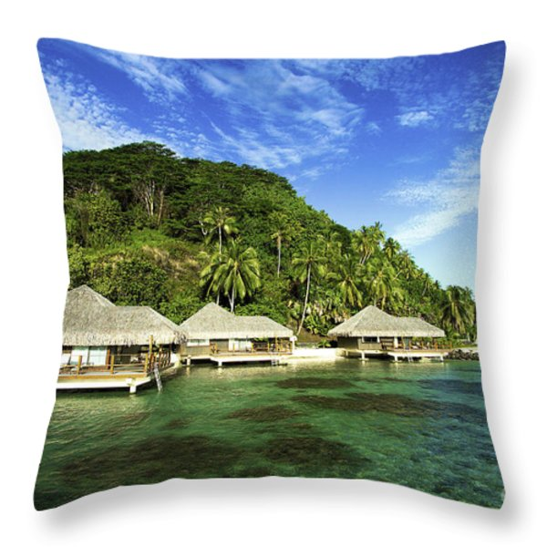 Te Tiare Resort Throw Pillow by David Cornwell/First Light Pictures, Inc - Printscapes