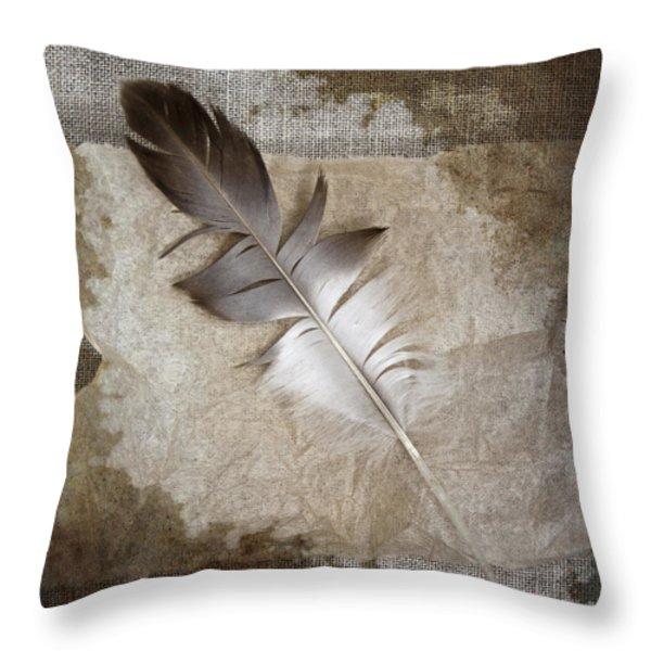 Tea Feather Throw Pillow by Carol Leigh