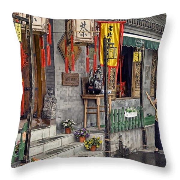 Tea House Throw Pillow by Scott Norris