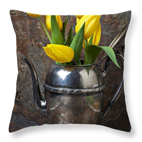 Tea Pot and Tulips Throw Pillow by Garry Gay