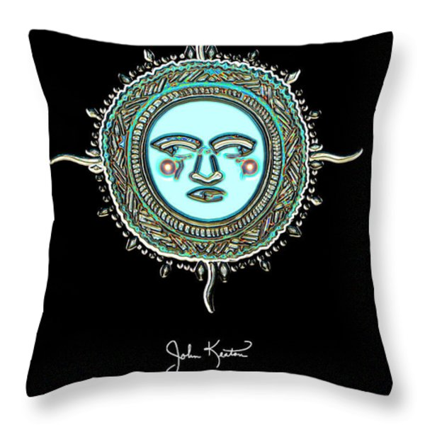 Teal Jewel Mohawk Sun Throw Pillow by John Keaton