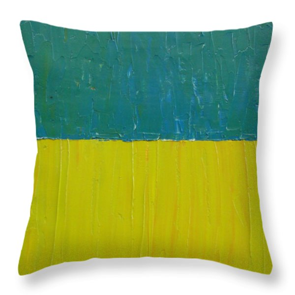 Teal Olive Throw Pillow by Michelle Calkins
