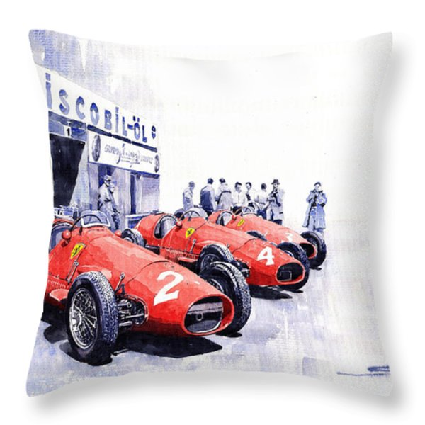 Team Ferrari 500 F2 1953 German Gp Throw Pillow by Yuriy  Shevchuk