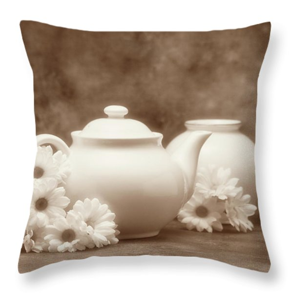 Teapot with Daisies I Throw Pillow by Tom Mc Nemar