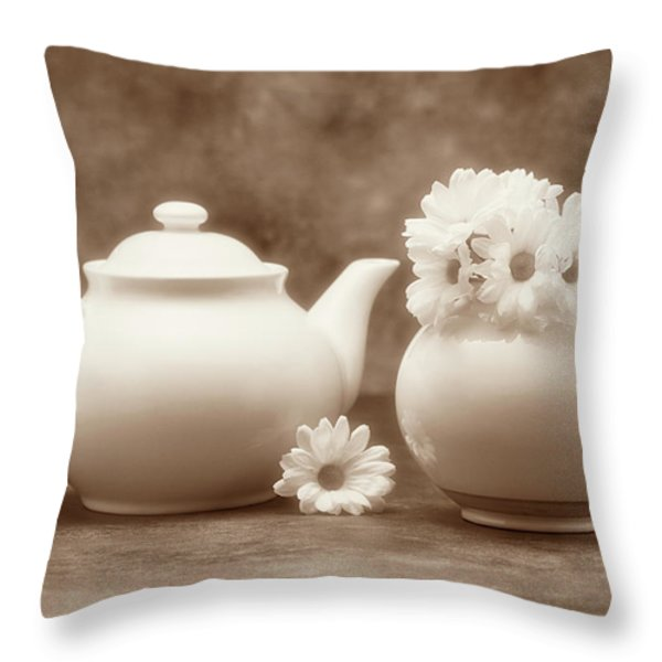 Teapot with Daisies II Throw Pillow by Tom Mc Nemar