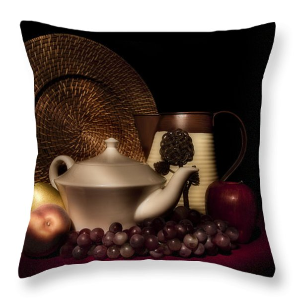 Teapot With Fruit Still Life Throw Pillow by Tom Mc Nemar