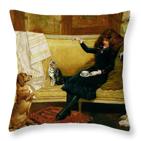 Teatime Treat Throw Pillow by John Charlton