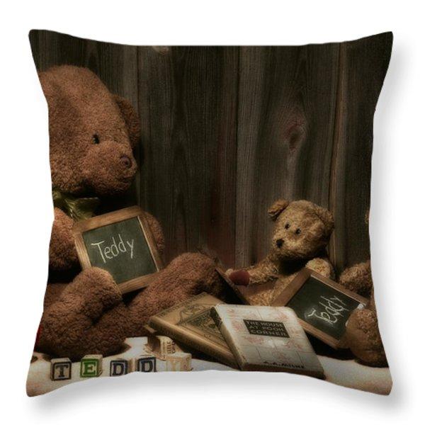 Teddy Bear School Throw Pillow by Tom Mc Nemar