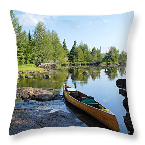 Temperance River Portage Throw Pillow by Larry Ricker