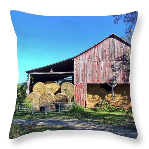 Tennessee Hay Barn Throw Pillow by Richard Gregurich