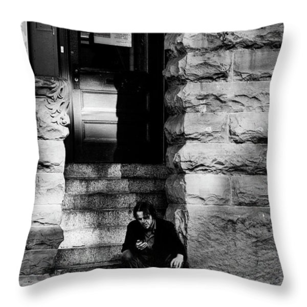 Texting Throw Pillow by David Patterson