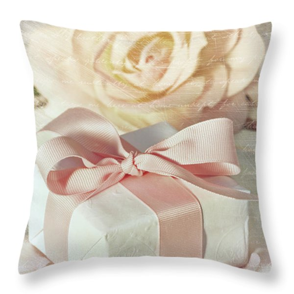 Thank You Gift At Wedding Reception Throw Pillow by Sandra Cunningham