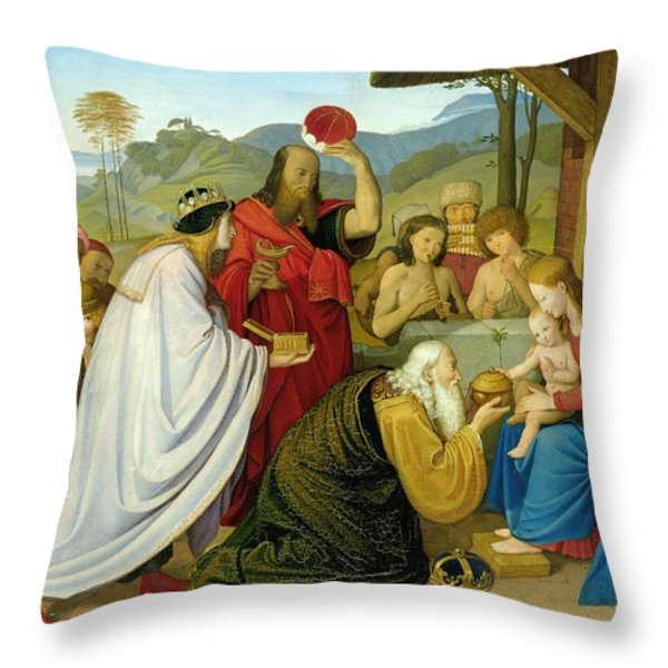 The Adoration Of The Kings Throw Pillow by Bridgeman