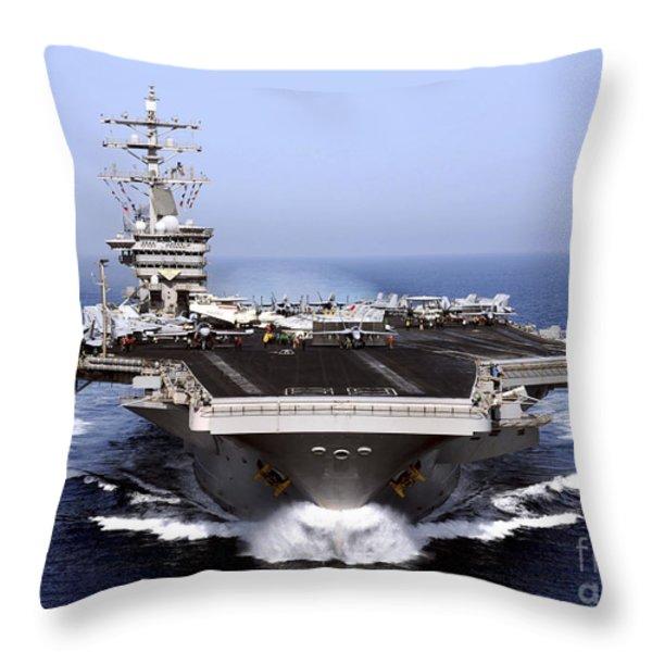 The Aircraft Carrier Uss Dwight D Throw Pillow by Stocktrek Images