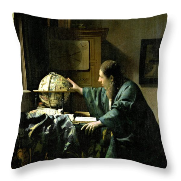 The Astronomer Throw Pillow by Jan Vermeer