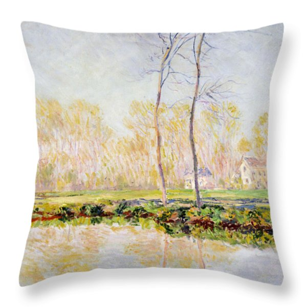 The Banks Of The River Epte At Giverny Throw Pillow by Claude Monet