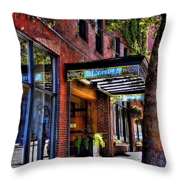 The Barney Mccoy Cafe Throw Pillow by David Patterson