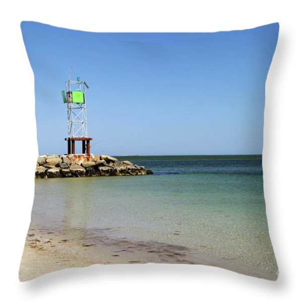 The Bass River Jetty South Yarmouth Cape Cod Massachusetts Throw Pillow by Michelle Wiarda