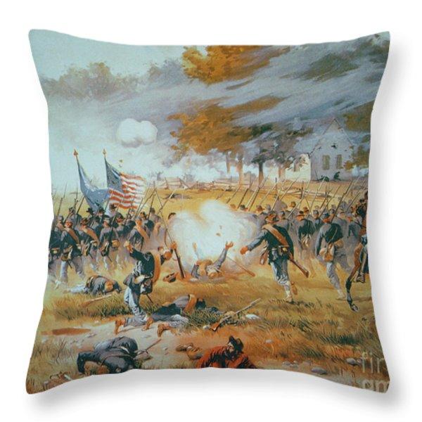 The Battle Of Antietam Throw Pillow by Thure de Thulstrup