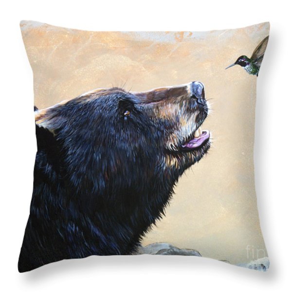The Bear And The Hummingbird Throw Pillow by J W Baker