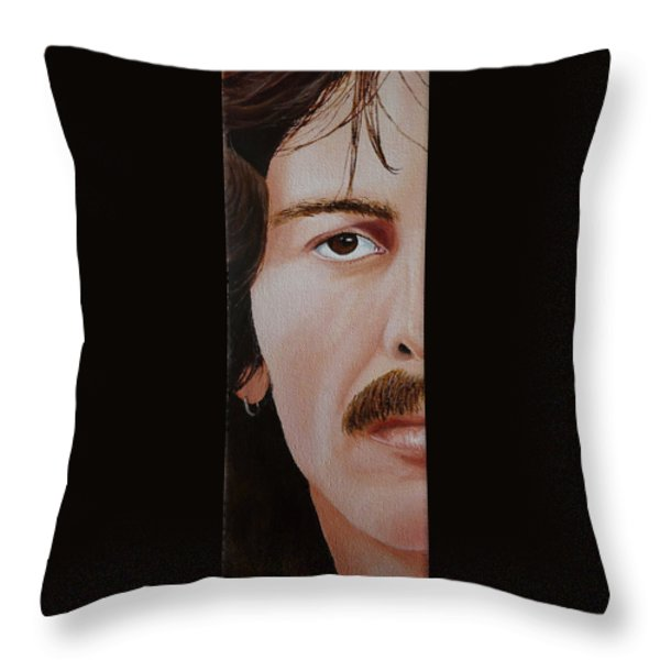 The Beatles George Harrison Throw Pillow by Vic Ritchey