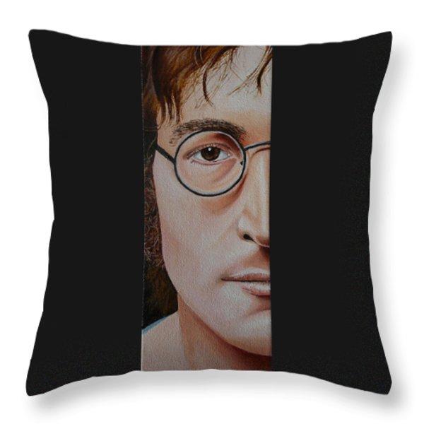 The Beatles John Lennon Throw Pillow by Vic Ritchey