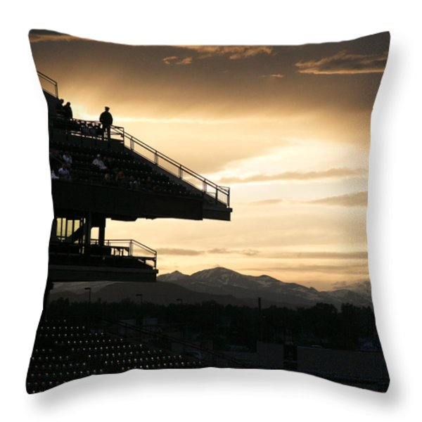 The Beauty Of Baseball In Colorado Throw Pillow by Marilyn Hunt
