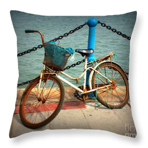 The Bicycle Throw Pillow by Carol Groenen