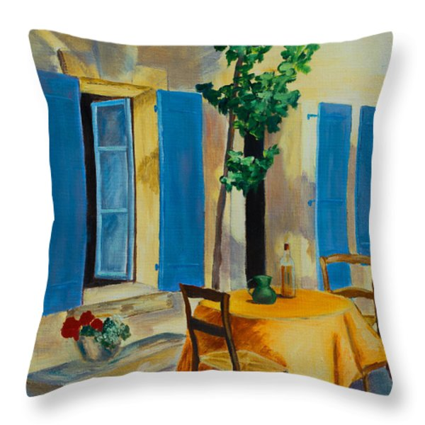 The Blue Shutters Throw Pillow by Elise Palmigiani