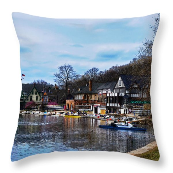 The Boat House Row Throw Pillow by Bill Cannon