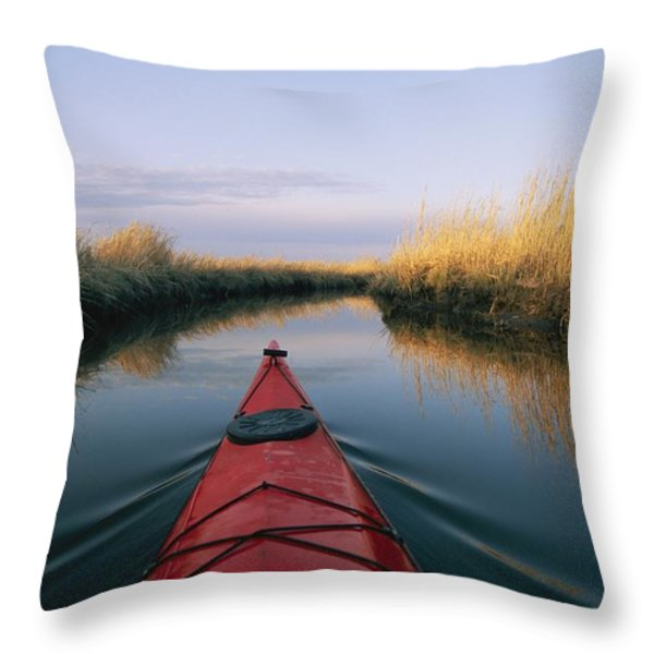 The Bow Of A Kayak Points The Way Throw Pillow by Skip Brown